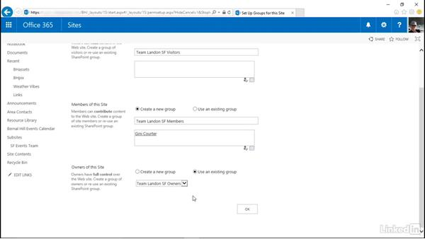 Inherit or set unique permissions for a site: SharePoint Online Essential Training
