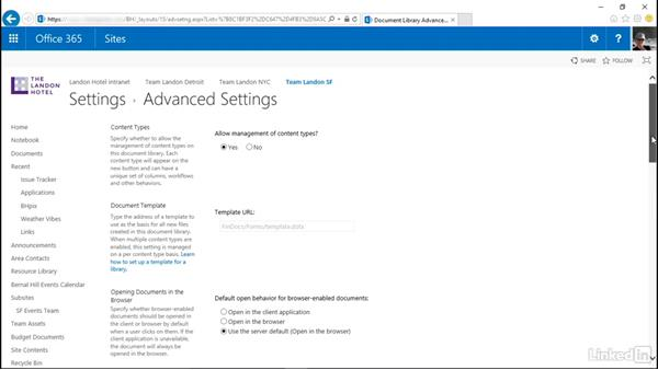 Use a custom content type: SharePoint Online Essential Training
