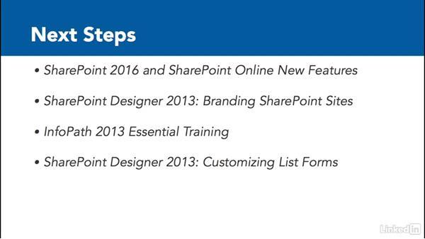 Next steps: SharePoint Online Essential Training