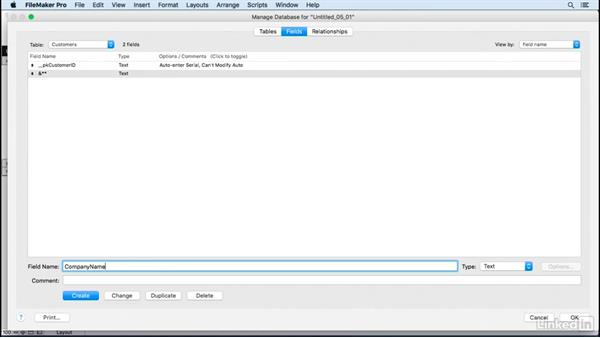 Define fields: FileMaker Pro 15 Essential Training