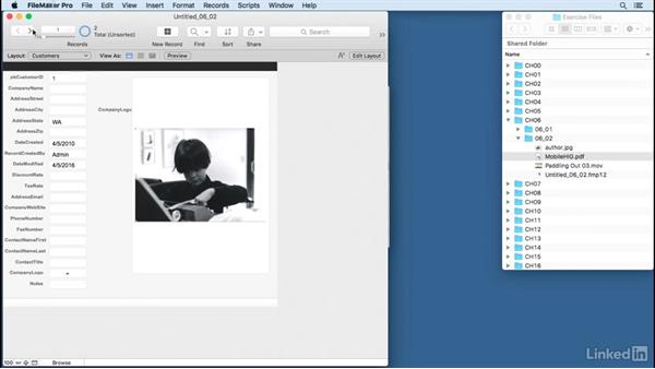 Apply field options and use remote container storage: FileMaker Pro 15 Essential Training