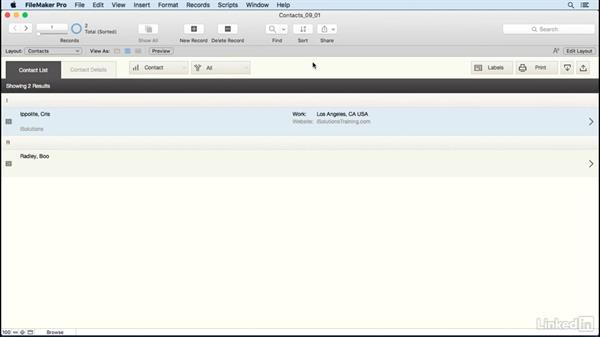 Introducing layouts: FileMaker Pro 15 Essential Training