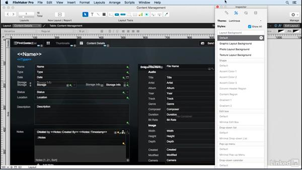 Work with layout themes: FileMaker Pro 15 Essential Training
