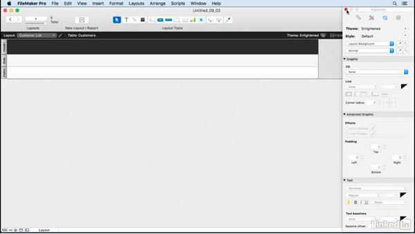 Use the Layout Assistant to create list views: FileMaker Pro 15 Essential Training