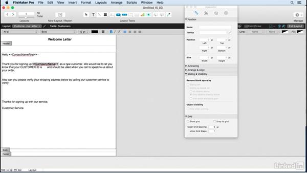 Print merge letters: FileMaker Pro 15 Essential Training