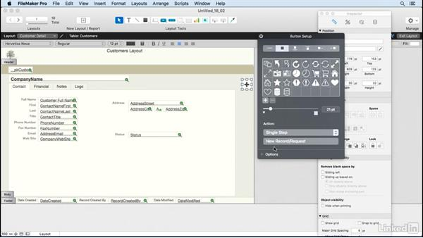 Assign script steps to buttons: FileMaker Pro 15 Essential Training