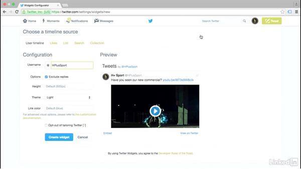 Add embedded widgets to your website: Twitter for Business