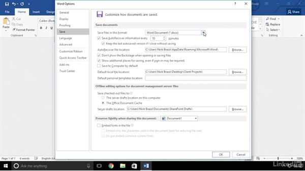 Change the default save location: Word 2016 Advanced Tips and Tricks