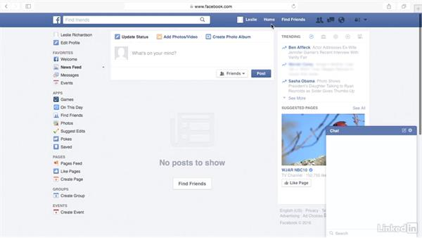Log in and out and navigate the screen: Learn Facebook: The Basics