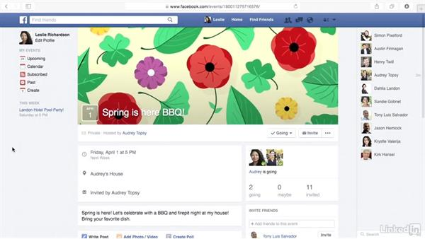 Respond to an event: Learn Facebook: The Basics