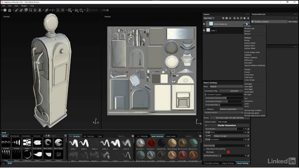 Setting up the Worn Red paint group: Substance Painter: Petrol Pump Game Asset