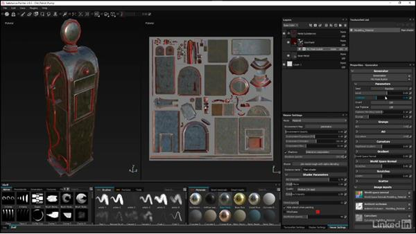 Using the Mask Builder for detail: Substance Painter: Petrol Pump Game Asset