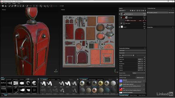 Using the ID channel pass to mask the group: Substance Painter: Petrol Pump Game Asset