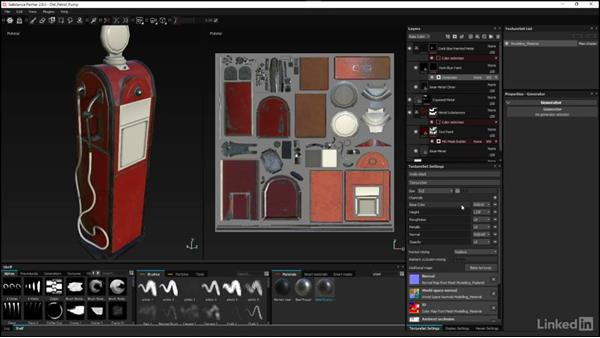 Adding the metal and paint substances: Substance Painter: Petrol Pump Game Asset