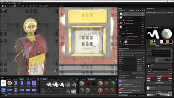 Painting in the 2D view: Substance Painter: Petrol Pump Game Asset