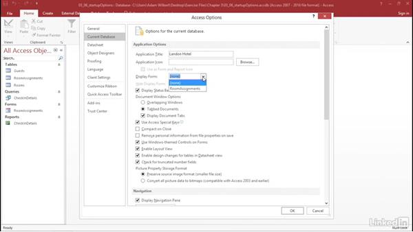 Adjust the database startup options: Learn Access for Office 365