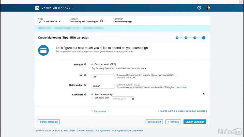 add your bid budget and set your caign live linkedin