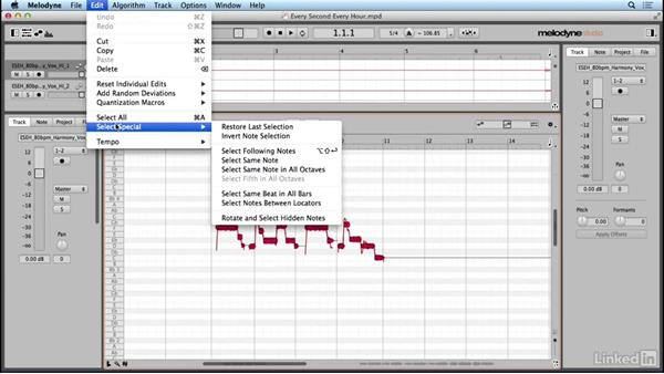 Selecting notes: Learn Melodyne 4: The Basics