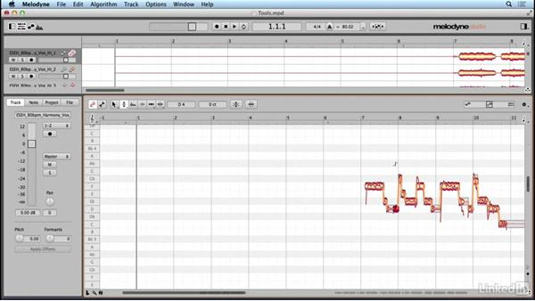 Using the Pitch tool and sub-tools: Learn Melodyne 4: The Basics