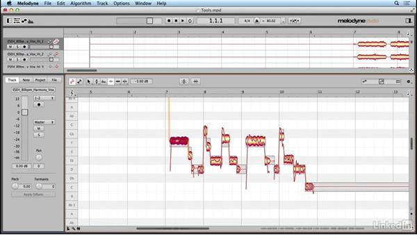 Using the Amplitude tool: Learn Melodyne 4: The Basics