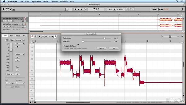 Correcting pitch and time automatically with macros: Learn Melodyne 4: The Basics