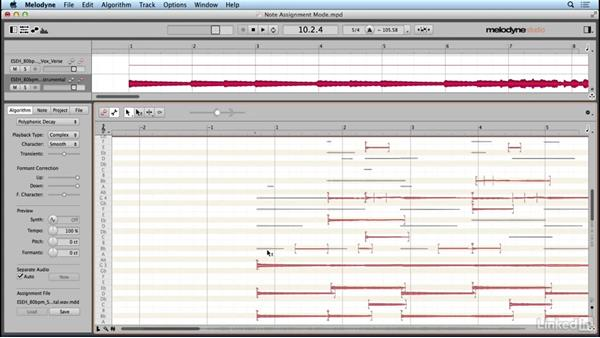 Using detection algorithms and note assignment mode: Learn Melodyne 4: The Basics
