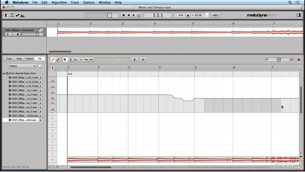 Editing meter and tempo: Learn Melodyne 4: The Basics