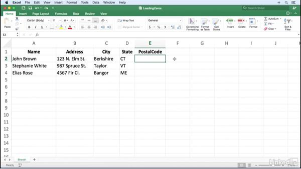 Entering numbers with leading zeros: Excel for Mac 2016 Power Shortcuts