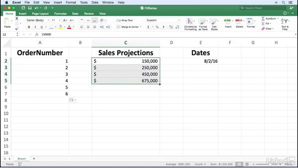 Entering data series using the fill handle: Excel for Mac 2016 Power Shortcuts