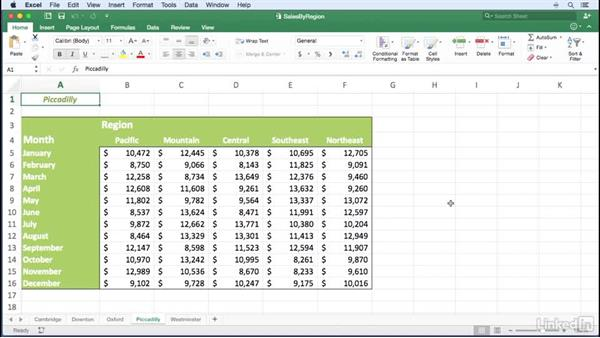 Moving among worksheets quickly: Excel for Mac 2016 Power Shortcuts