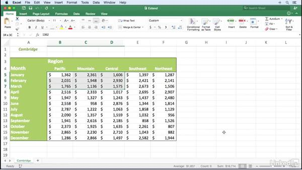 Extending a selection using the keyboard: Excel for Mac 2016 Power Shortcuts