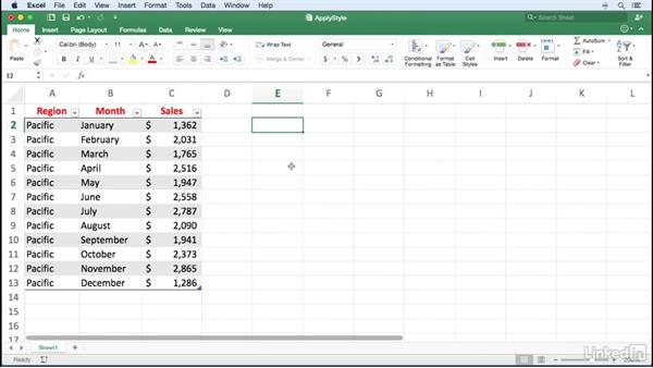 Applying a table style and replacing existing formatting: Excel for Mac 2016 Power Shortcuts
