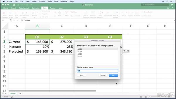 Creating substitute data sets using scenarios: Excel for Mac 2016 Power Shortcuts