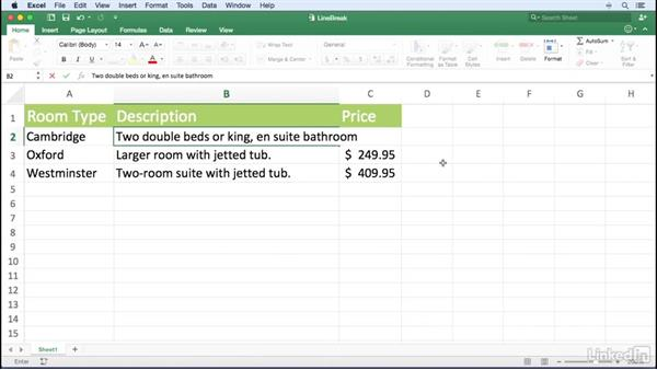 Entering a line break into a cell: Excel for Mac 2016 Power Shortcuts