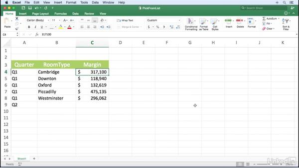 Picking data from a list: Excel for Mac 2016 Power Shortcuts