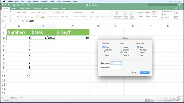 Entering a data series quickly: Excel for Mac 2016 Power Shortcuts