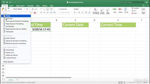 Inserting the current date or time: Excel for Mac 2016 Power Shortcuts