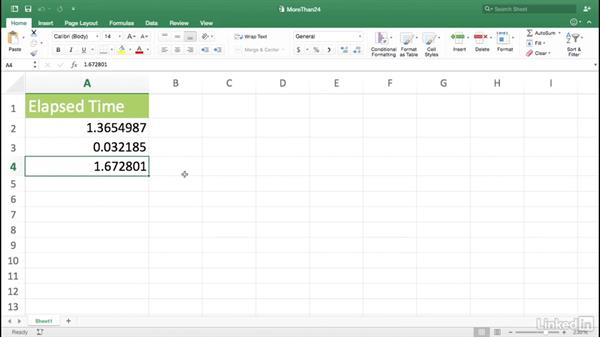 Displaying times that exceed 24 hours: Excel for Mac 2016 Power Shortcuts