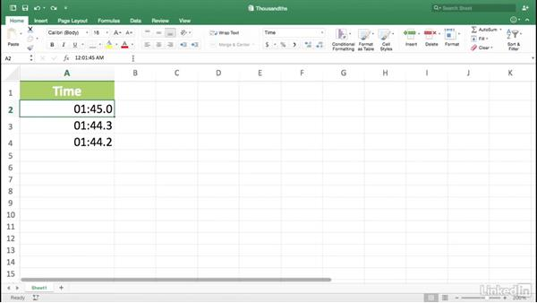 Displaying thousandths of a second: Excel for Mac 2016 Power Shortcuts