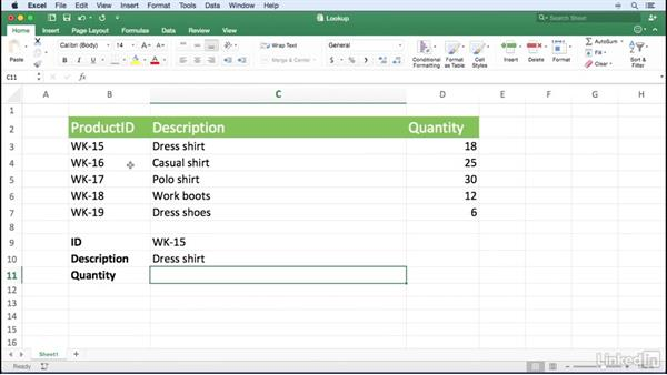 Using INDEX and MATCH to look up data without using the leftmost column: Excel for Mac 2016 Power Shortcuts