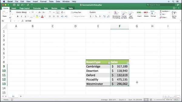 Summarizing data on the status bar: Excel for Mac 2016 Power Shortcuts