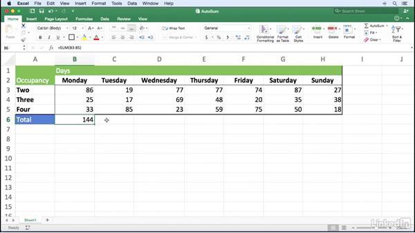 Summarizing data using AutoSum formulas: Excel for Mac 2016 Power Shortcuts