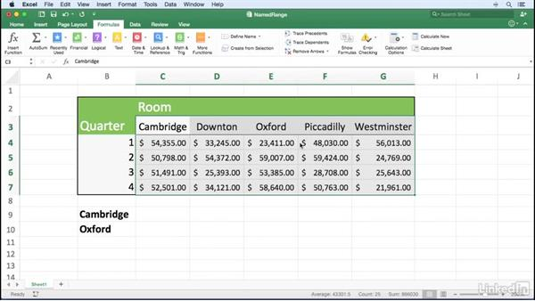 Creating and selecting named ranges quickly: Excel for Mac 2016 Power Shortcuts
