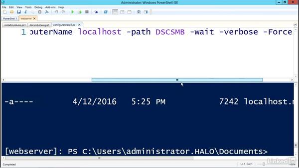 Configuring an SMB pull server: PowerShell Desired State Configuration Essential Training