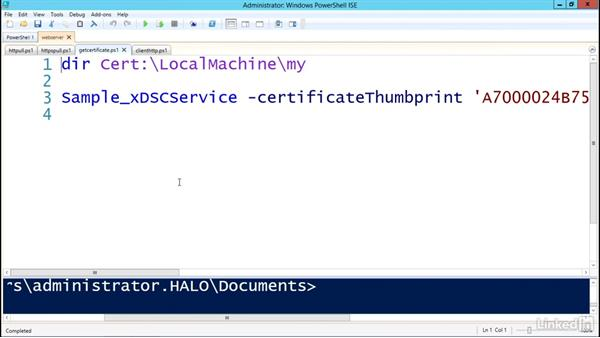 Configuring an HTTP/HTTPS pull server: PowerShell Desired State Configuration Essential Training