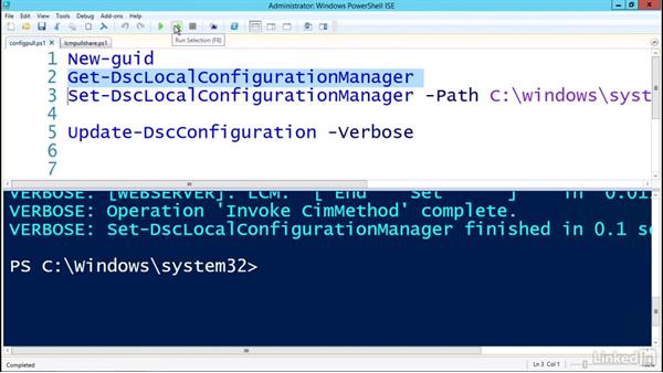 Configuring the LCM for pull-based deployment: PowerShell Desired State Configuration Essential Training