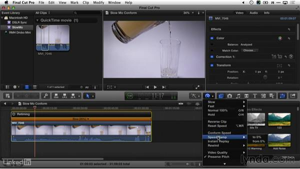 Slow motion in Final Cut Pro X: DSLR Video Tips: Cameras & Lenses