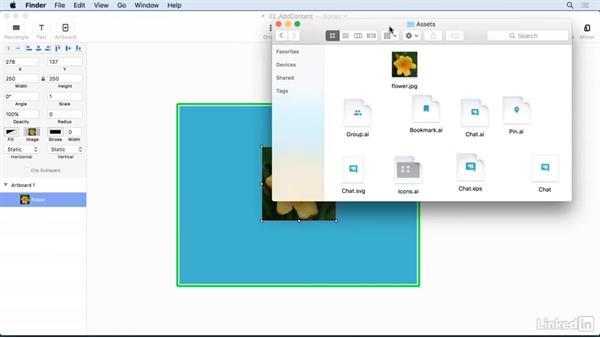 Adding content to an artboard: UX Design Tools: Principle