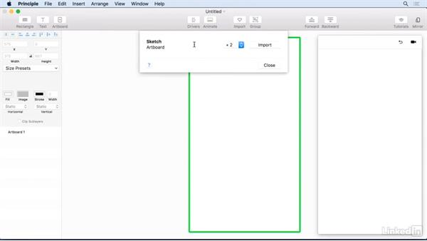 Using the Import from Sketch command: UX Design Tools: Principle