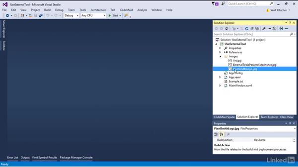 Pass parameters to external tool: Visual Studio 2015 Essentials 08: Extend and Customize the Visual Studio Environment